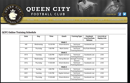 QCFC Online Training Schedule Live